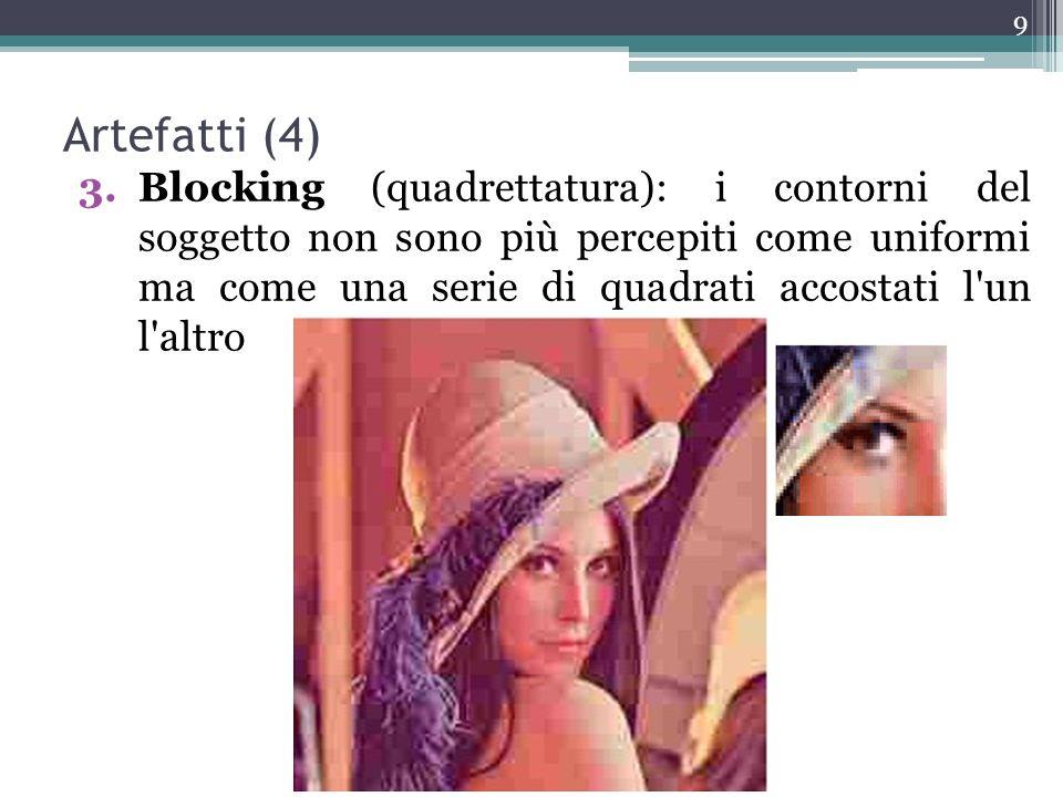 Artefatti (4) 3.Blocking (quadrettatura): i contorni del soggetto non sono più percepiti come uniformi ma come una serie di quadrati accostati l'un l'