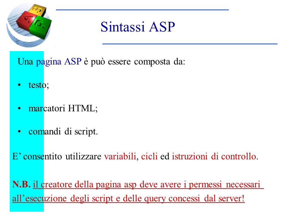 Sintassi ASP Una pagina ASP è può essere composta da: testo; marcatori HTML; comandi di script. E consentito utilizzare variabili, cicli ed istruzioni