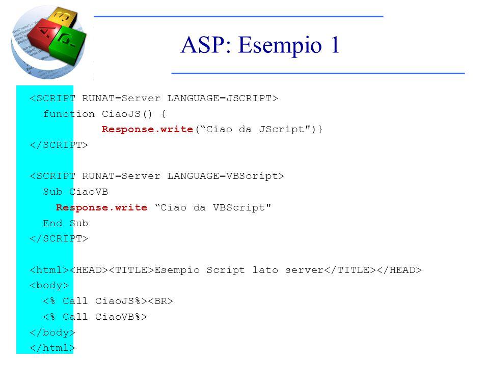 ASP: Esempio 1 function CiaoJS() { Response.write(Ciao da JScript