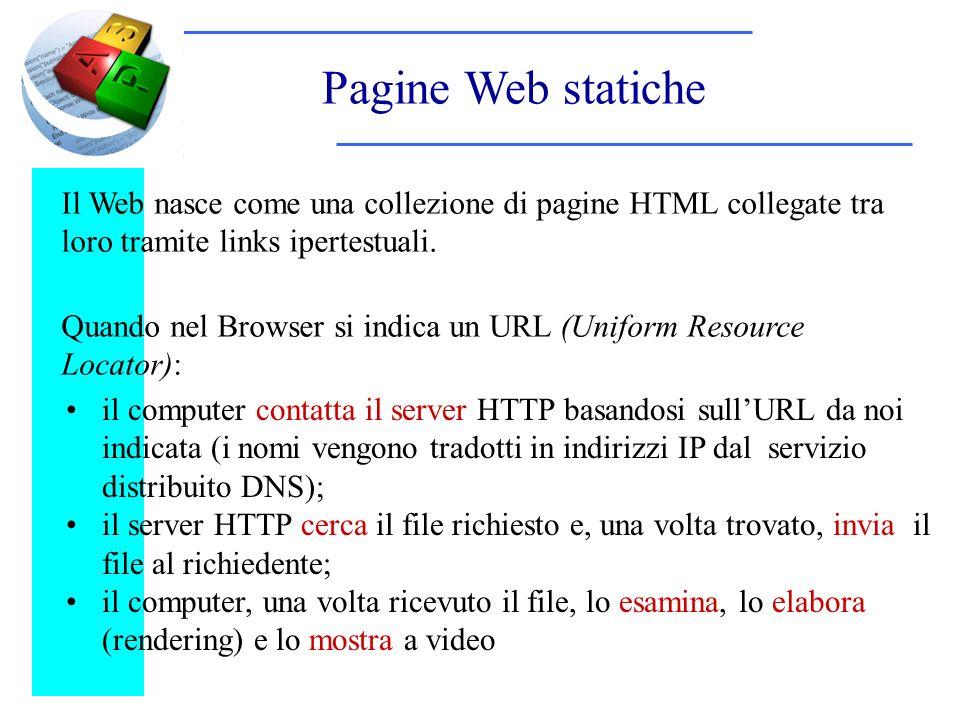 Pagine Web statiche il computer contatta il server HTTP basandosi sullURL da noi indicata (i nomi vengono tradotti in indirizzi IP dal servizio distribuito DNS); il server HTTP cerca il file richiesto e, una volta trovato, invia il file al richiedente; il computer, una volta ricevuto il file, lo esamina, lo elabora (rendering) e lo mostra a video Il Web nasce come una collezione di pagine HTML collegate tra loro tramite links ipertestuali.