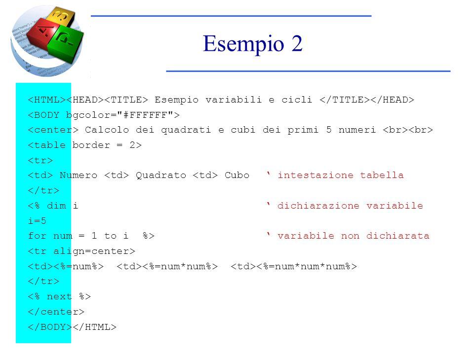 Esempio 2 Esempio variabili e cicli Calcolo dei quadrati e cubi dei primi 5 numeri Numero Quadrato Cubo intestazione tabella <% dim i dichiarazione variabile i=5 for num = 1 to i %> variabile non dichiarata