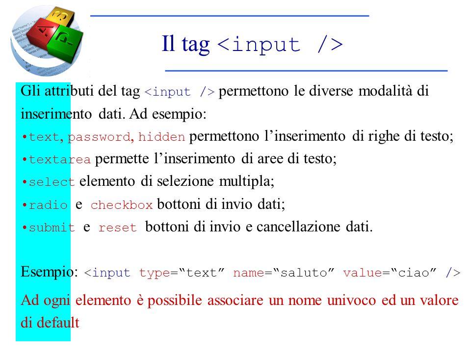 Il tag Gli attributi del tag permettono le diverse modalità di inserimento dati. Ad esempio: text, password, hidden permettono linserimento di righe d
