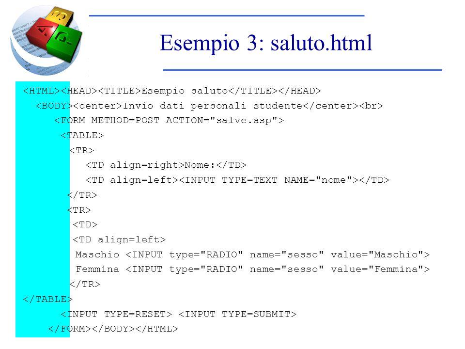 Esempio 3: saluto.html Esempio saluto Invio dati personali studente Nome: Maschio Femmina