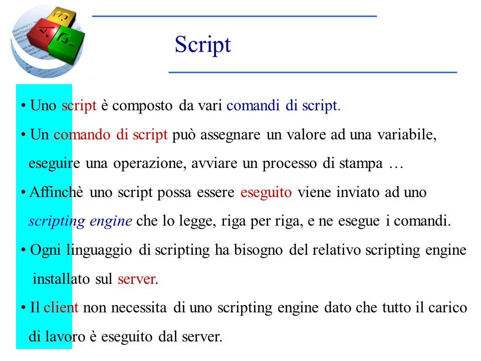 Script Uno script è composto da vari comandi di script. Un comando di script può assegnare un valore ad una variabile, eseguire una operazione, avviar
