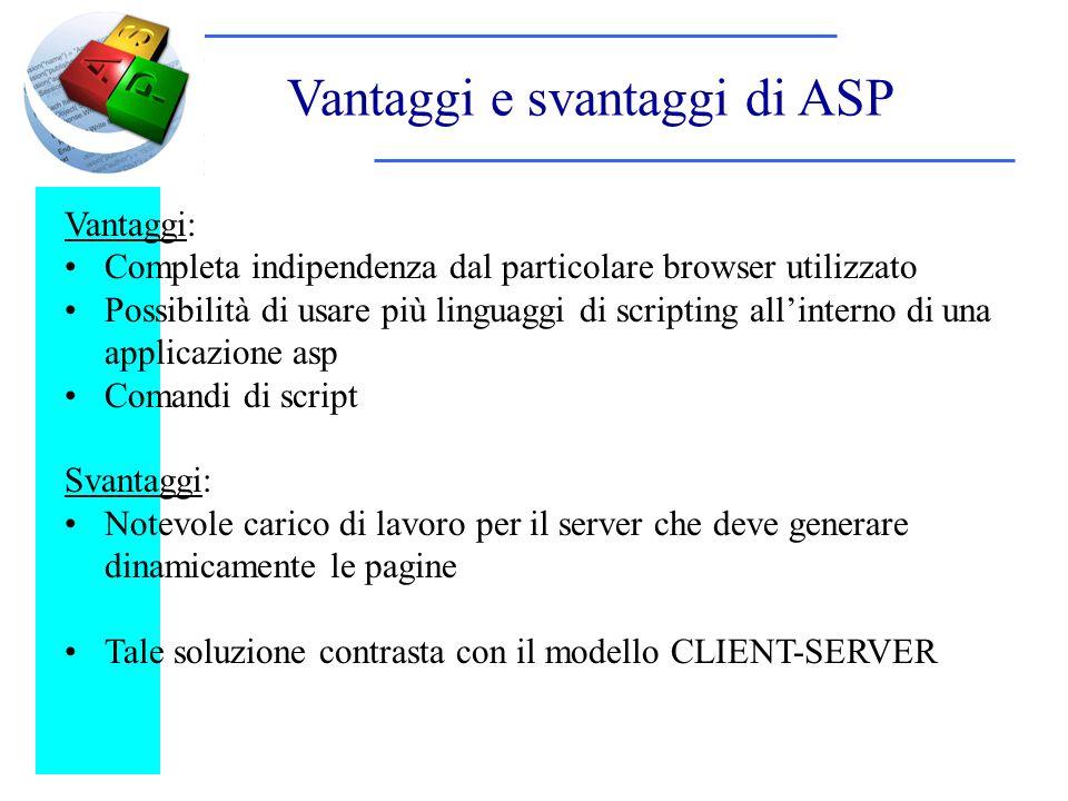 Vantaggi e svantaggi di ASP Vantaggi: Completa indipendenza dal particolare browser utilizzato Possibilità di usare più linguaggi di scripting allinte