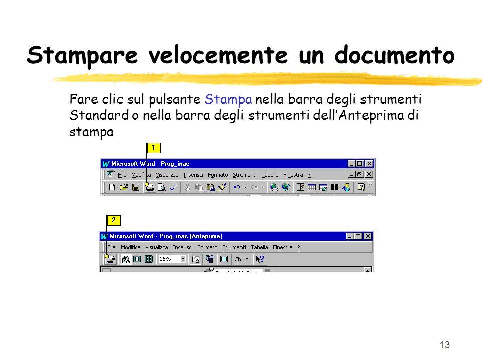 13 Stampare velocemente un documento Fare clic sul pulsante Stampa nella barra degli strumenti Standard o nella barra degli strumenti dellAnteprima di stampa