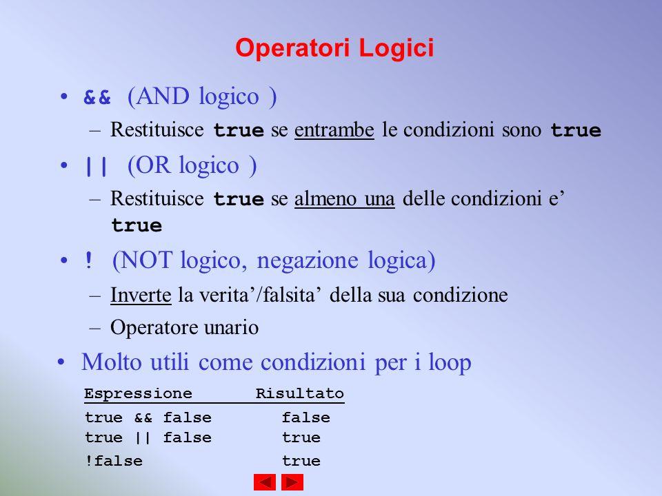 Operatori Logici && (AND logico ) –Restituisce true se entrambe le condizioni sono true || (OR logico ) –Restituisce true se almeno una delle condizioni e true .