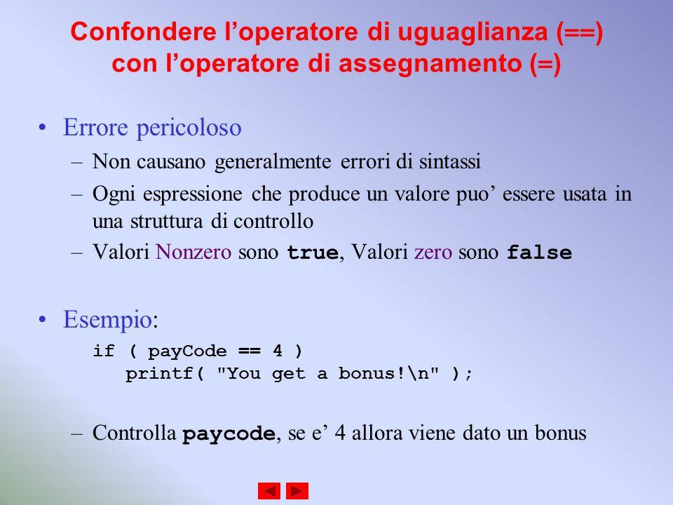 Confondere loperatore di uguaglianza (==) con loperatore di assegnamento (=) Errore pericoloso –Non causano generalmente errori di sintassi –Ogni espressione che produce un valore puo essere usata in una struttura di controllo –Valori Nonzero sono true, Valori zero sono false Esempio: if ( payCode == 4 ) printf( You get a bonus!\n ); –Controlla paycode, se e 4 allora viene dato un bonus
