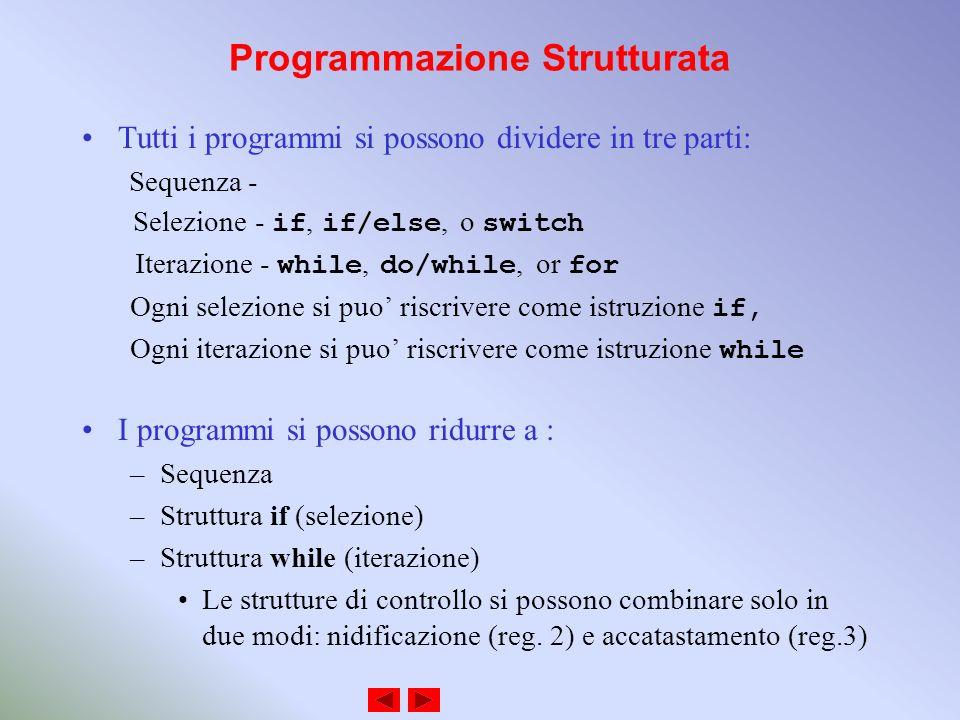 Programmazione Strutturata Tutti i programmi si possono dividere in tre parti: Sequenza - Selezione - if, if/else, o switch Iterazione - while, do/while, or for Ogni selezione si puo riscrivere come istruzione if, Ogni iterazione si puo riscrivere come istruzione while I programmi si possono ridurre a : –Sequenza –Struttura if (selezione) –Struttura while (iterazione) Le strutture di controllo si possono combinare solo in due modi: nidificazione (reg.