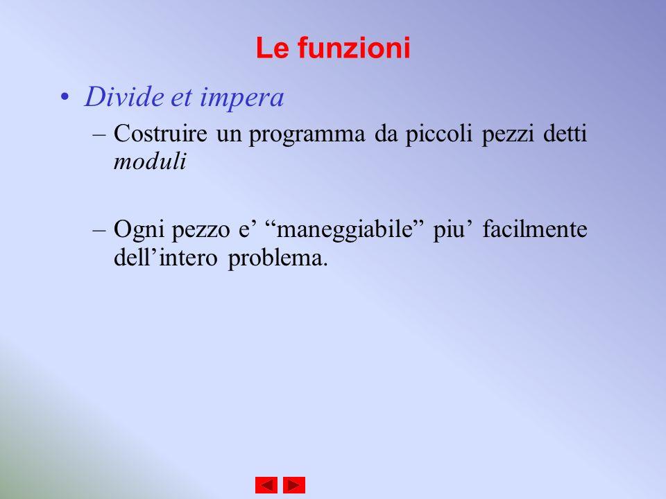 Le funzioni Divide et impera –Costruire un programma da piccoli pezzi detti moduli –Ogni pezzo e maneggiabile piu facilmente dellintero problema.