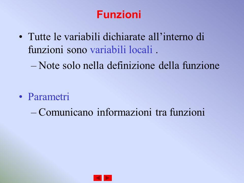 Funzioni Tutte le variabili dichiarate allinterno di funzioni sono variabili locali.