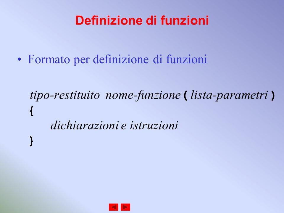 Definizione di funzioni Formato per definizione di funzioni tipo-restituito nome-funzione ( lista-parametri ) { dichiarazioni e istruzioni }