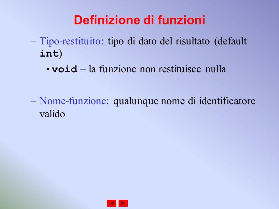Definizione di funzioni –Tipo-restituito: tipo di dato del risultato (default int ) void – la funzione non restituisce nulla –Nome-funzione: qualunque nome di identificatore valido