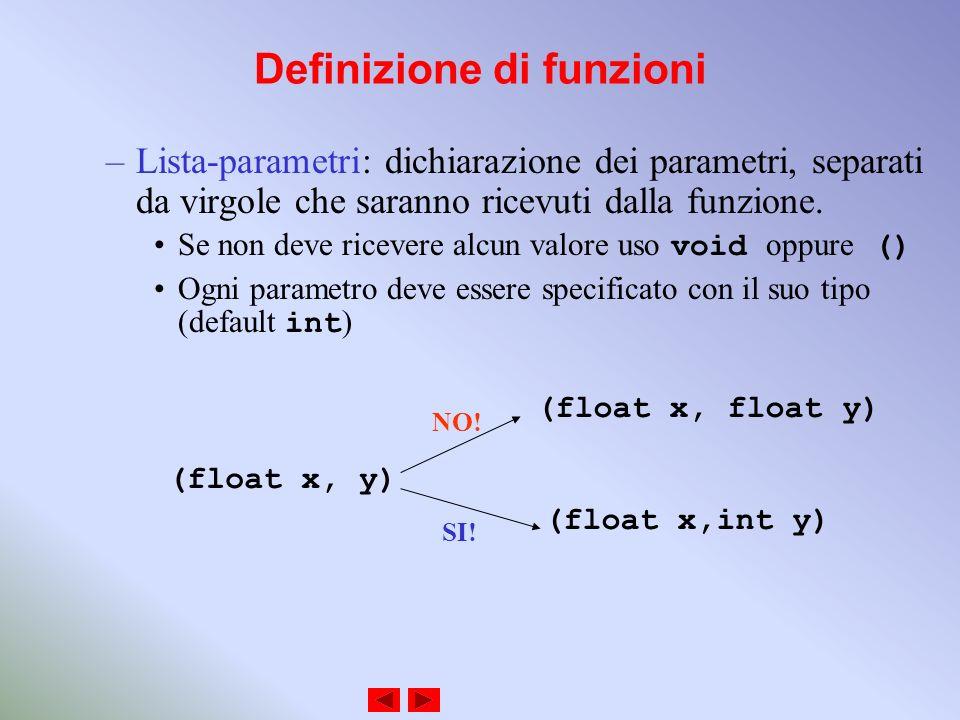 Definizione di funzioni –Lista-parametri: dichiarazione dei parametri, separati da virgole che saranno ricevuti dalla funzione.