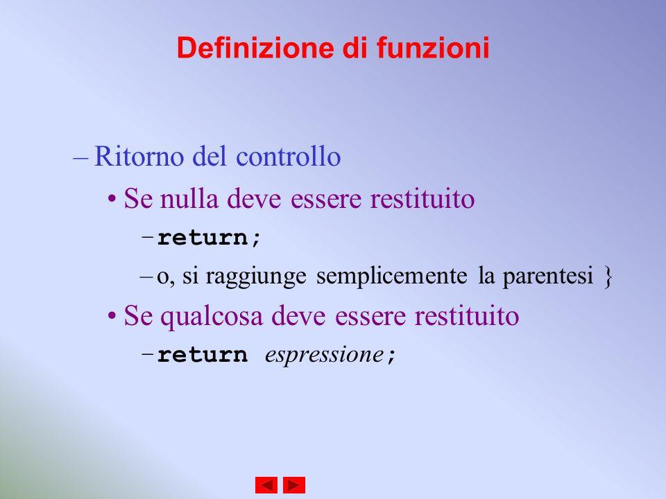 Definizione di funzioni –Ritorno del controllo Se nulla deve essere restituito –return; –o, si raggiunge semplicemente la parentesi } Se qualcosa deve essere restituito –return espressione ;
