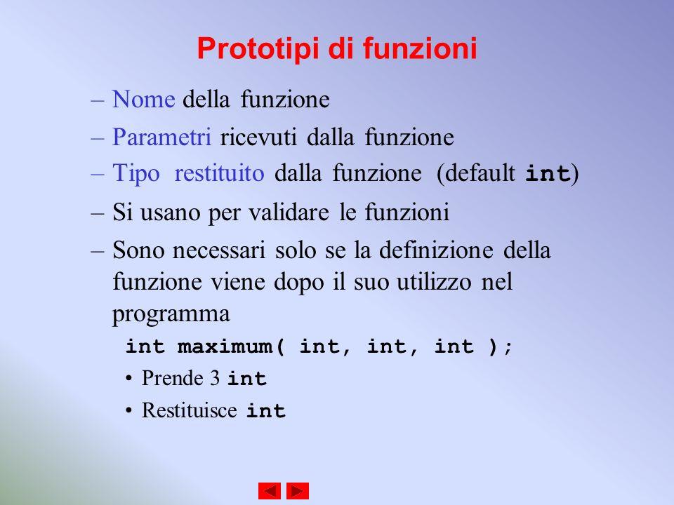 Prototipi di funzioni –Nome della funzione –Parametri ricevuti dalla funzione –Tipo restituito dalla funzione (default int ) –Si usano per validare le funzioni –Sono necessari solo se la definizione della funzione viene dopo il suo utilizzo nel programma int maximum( int, int, int ); Prende 3 int Restituisce int