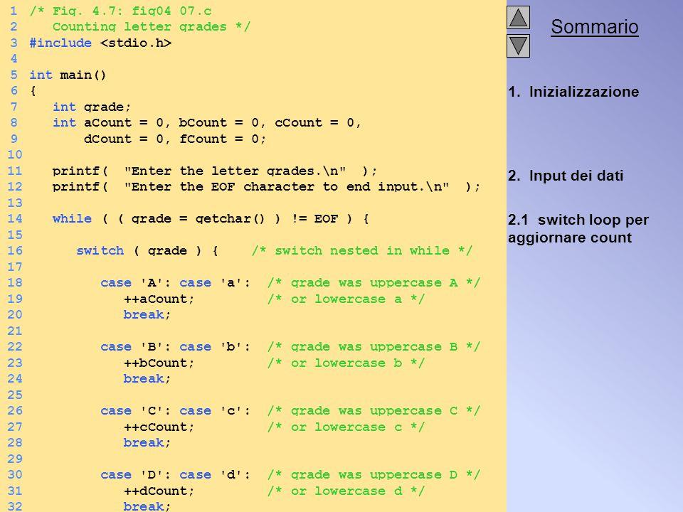 Sommario 1. Inizializzazione 2. Input dei dati 2.1 switch loop per aggiornare count 1/* Fig.