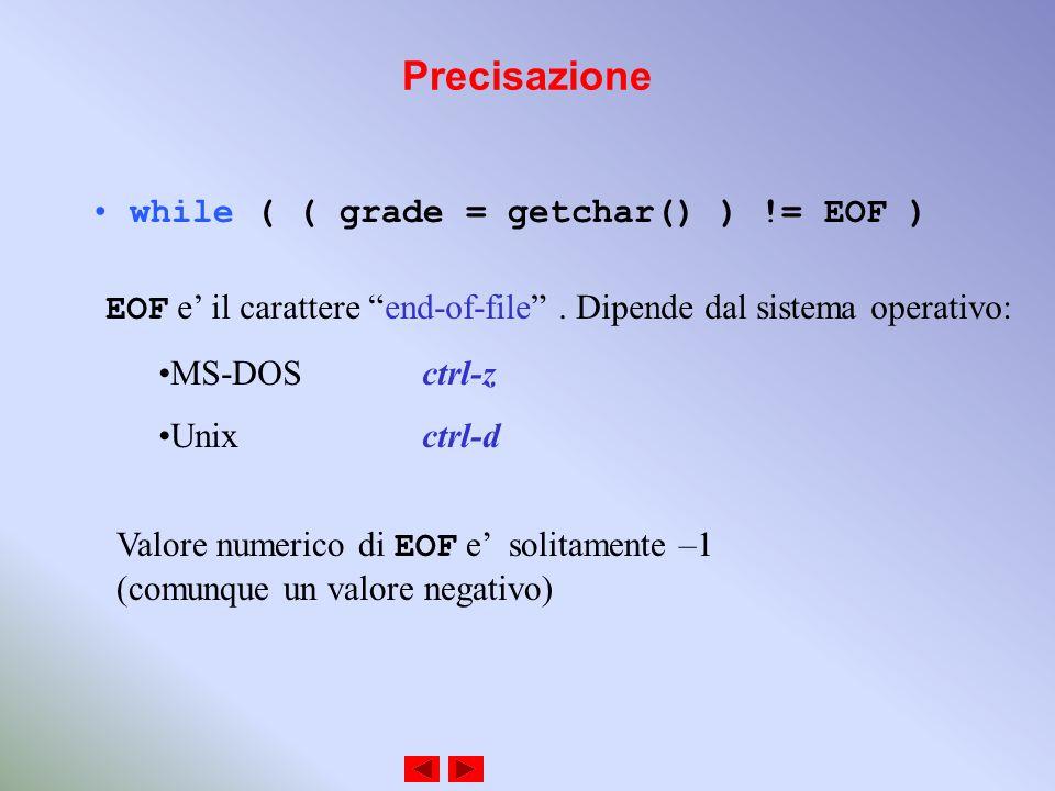 Precisazione while ( ( grade = getchar() ) != EOF ) EOF e il carattere end-of-file.
