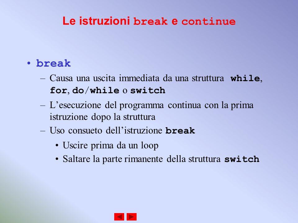 Le istruzioni break e continue break –Causa una uscita immediata da una struttura while, for, do/while o switch –Lesecuzione del programma continua con la prima istruzione dopo la struttura –Uso consueto dellistruzione break Uscire prima da un loop Saltare la parte rimanente della struttura switch