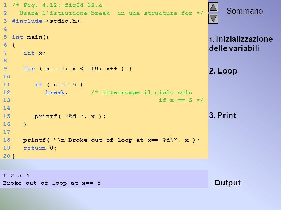 Sommario 1.Inizializzazione delle variabili 2. Loop 3.
