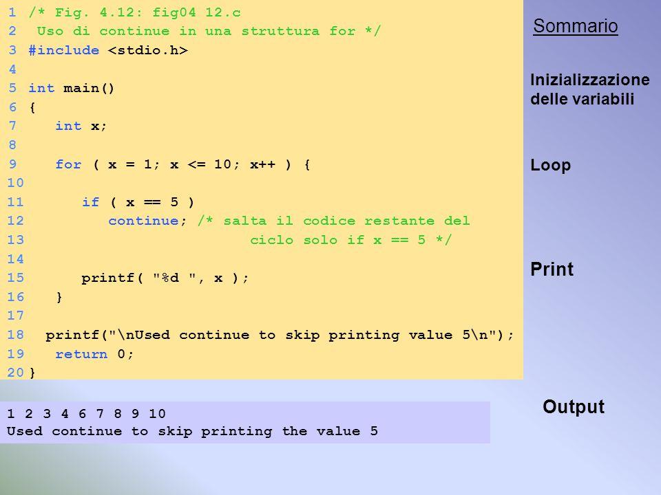 Sommario Inizializzazione delle variabili Loop Print Output 1/* Fig.