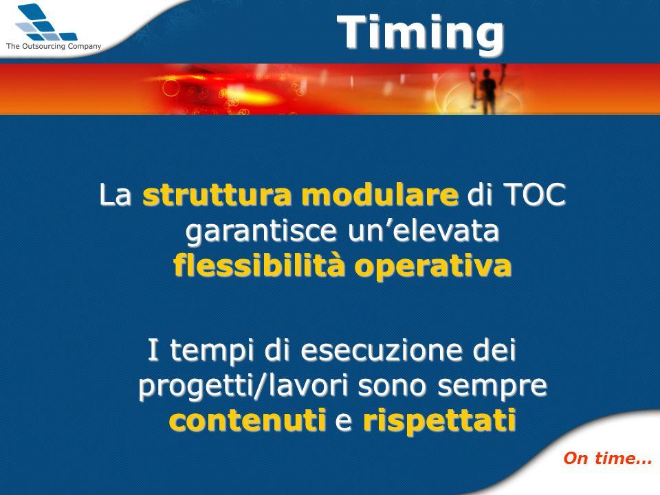 Timing La struttura modulare di TOC garantisce unelevata flessibilità operativa I tempi di esecuzione dei progetti/lavori sono sempre contenuti e rispettati On time…