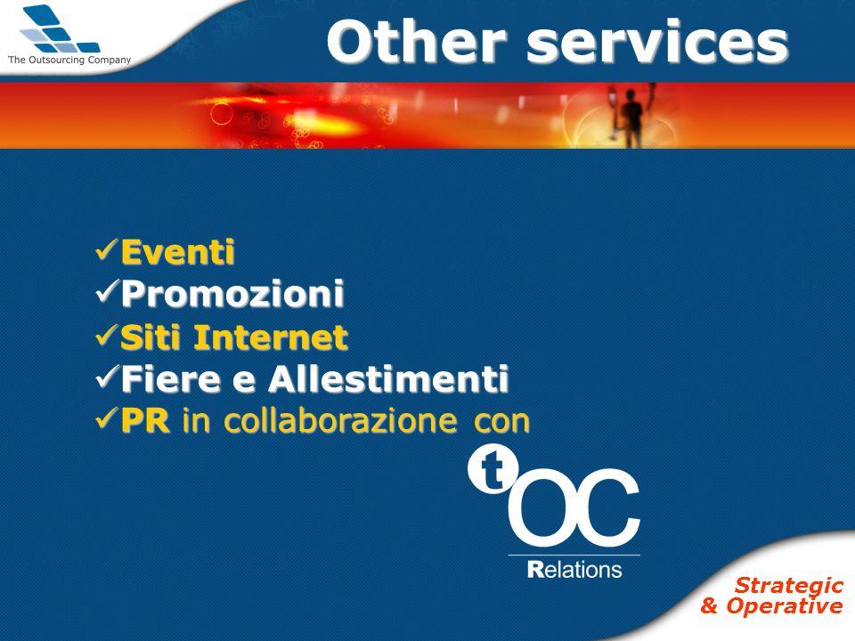 Other services Eventi Eventi Promozioni Promozioni Siti Internet Siti Internet Fiere e Allestimenti Fiere e Allestimenti PR in collaborazione con PR in collaborazione con Strategic & Operative