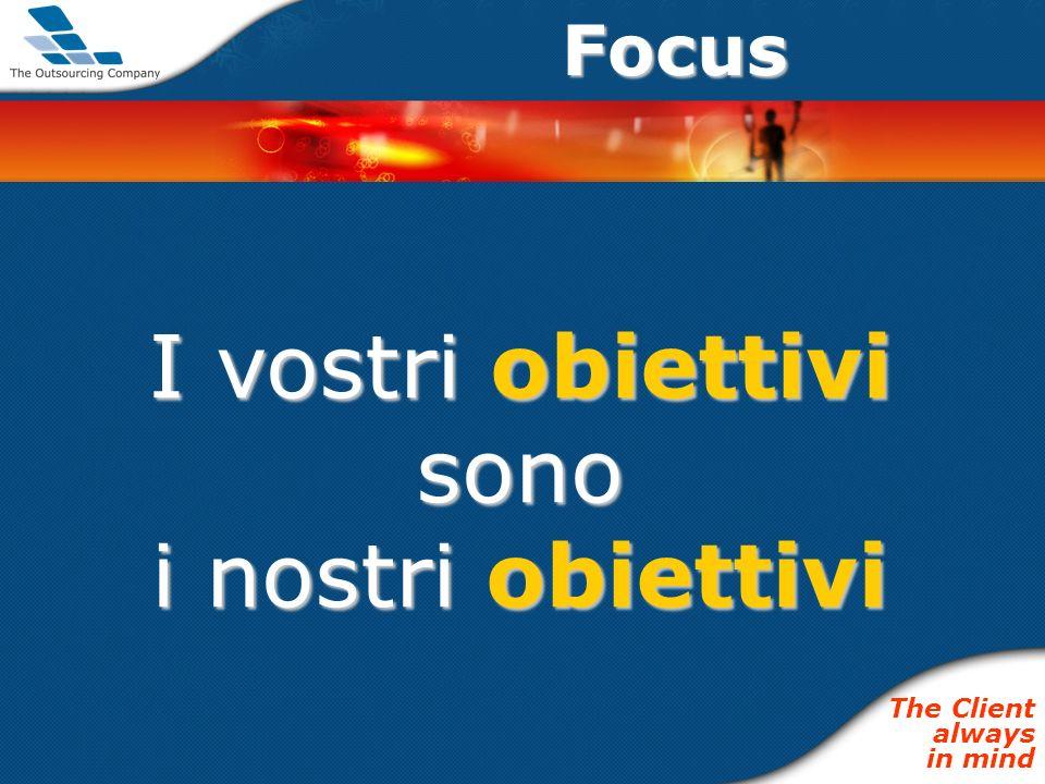 Focus I vostri obiettivi sono i nostri obiettivi The Client always in mind