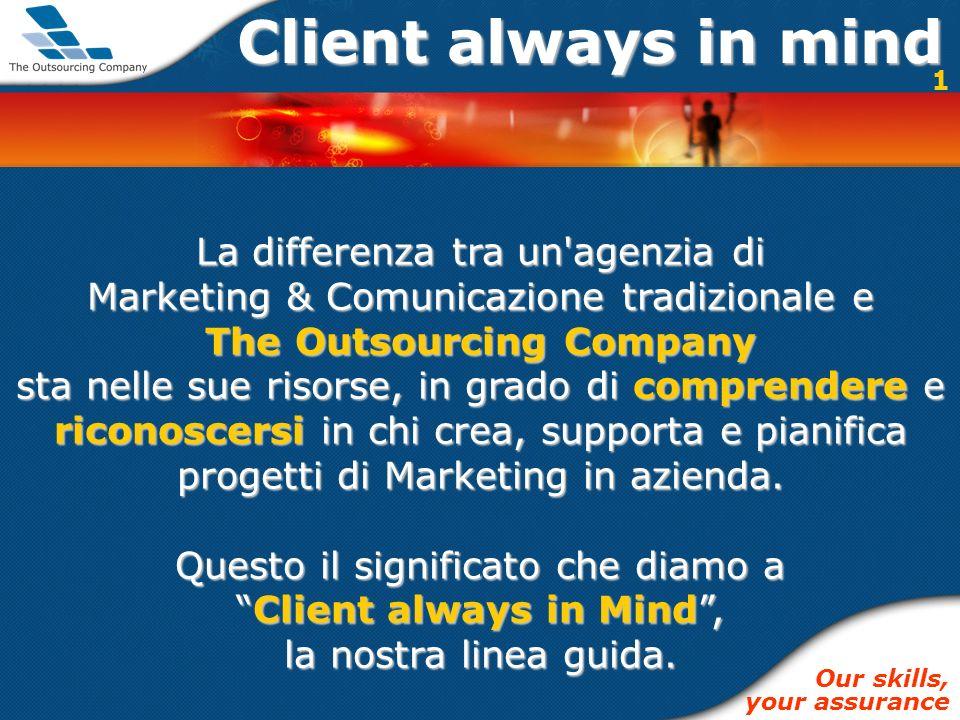 Client always in mind La differenza tra un agenzia di Marketing & Comunicazione tradizionale e The Outsourcing Company sta nelle sue risorse, in grado di comprendere e riconoscersi in chi crea, supporta e pianifica progetti di Marketing in azienda.