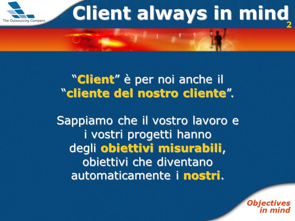Client always in mind Client è per noi anche ilClient è per noi anche il cliente del nostro cliente.cliente del nostro cliente. Sappiamo che il vostro