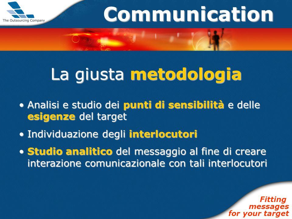 Communication La giusta metodologia Analisi e studio dei punti di sensibilità e delle esigenze del targetAnalisi e studio dei punti di sensibilità e d