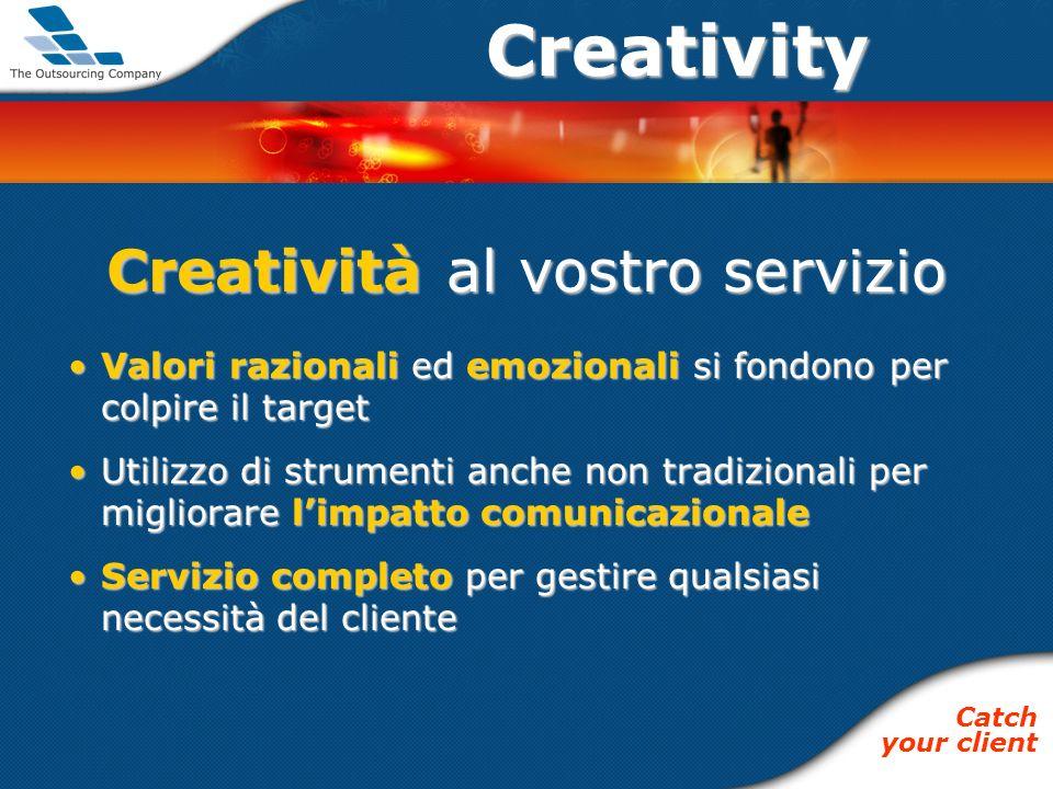 Creativity Creatività al vostro servizio Valori razionali ed emozionali si fondono per colpire il targetValori razionali ed emozionali si fondono per