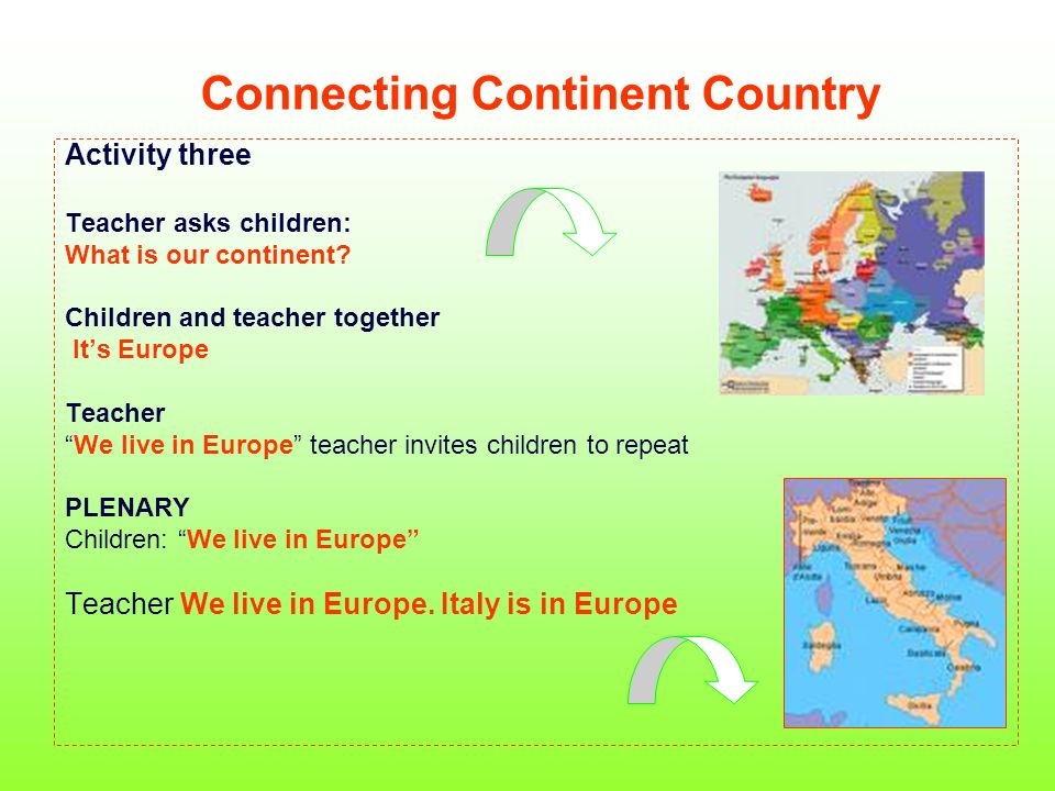 Connecting Continent Country Activity three Teacher asks children: What is our continent.
