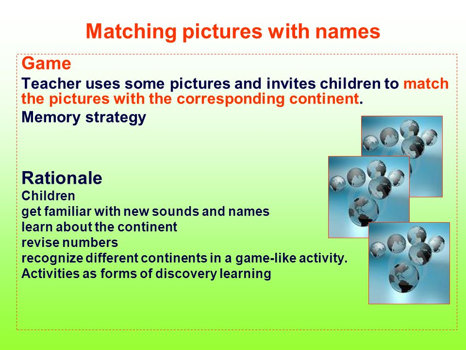 Matching pictures with names Game Teacher uses some pictures and invites children to match the pictures with the corresponding continent. Memory strat