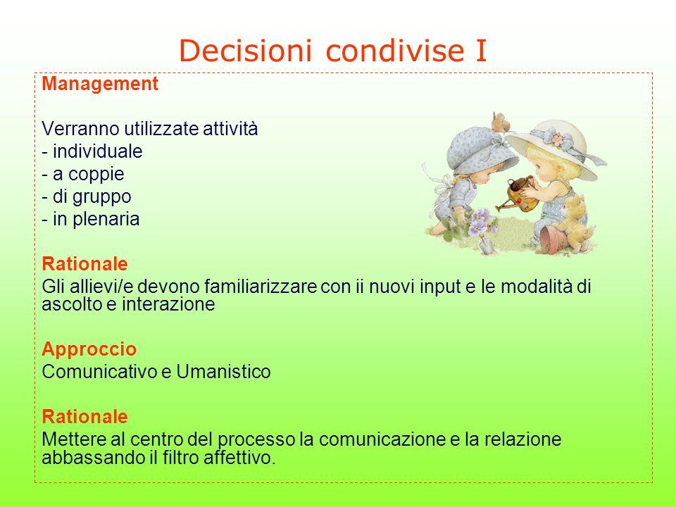 Decisioni condivise I Management Verranno utilizzate attività - individuale - a coppie - di gruppo - in plenaria Rationale Gli allievi/e devono famili