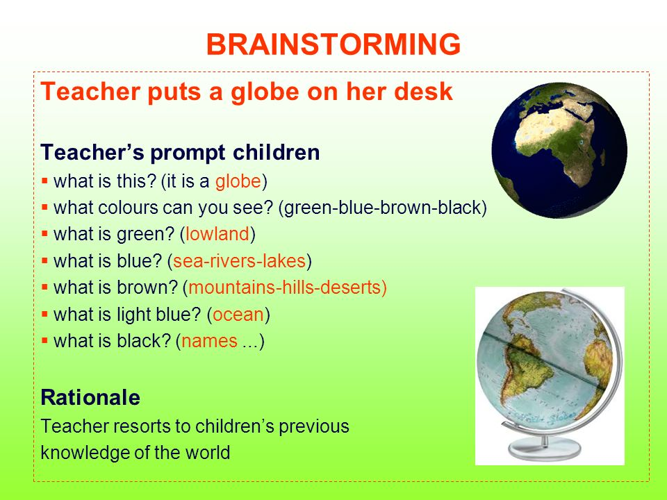 BRAINSTORMING Teacher puts a globe on her desk Teachers prompt children what is this? (it is a globe) what colours can you see? (green-blue-brown-blac