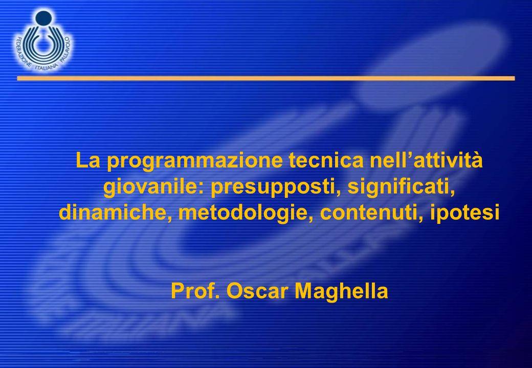 La programmazione tecnica nellattività giovanile: presupposti, significati, dinamiche, metodologie, contenuti, ipotesi Prof. Oscar Maghella