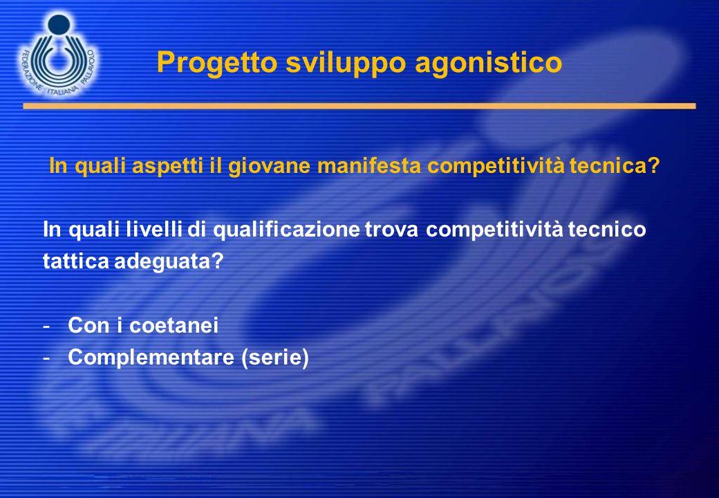 Progetto sviluppo agonistico In quali aspetti il giovane manifesta competitività tecnica? In quali livelli di qualificazione trova competitività tecni