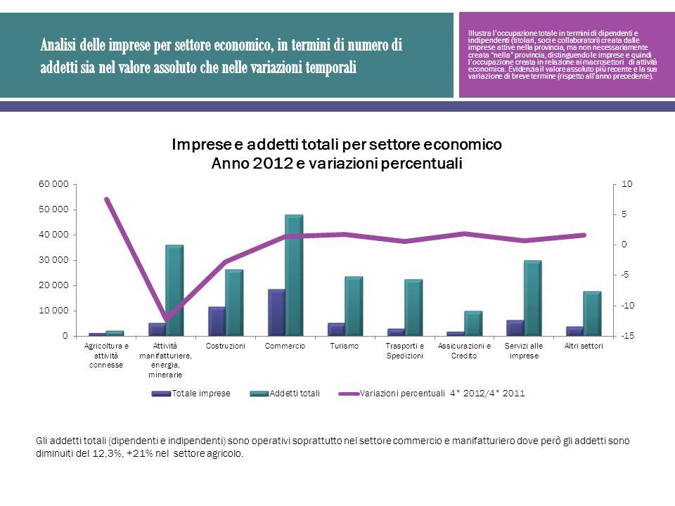Illustra loccupazione totale in termini di dipendenti e indipendenti (titolari, soci e collaboratori) creata dalle imprese attive nella provincia, ma