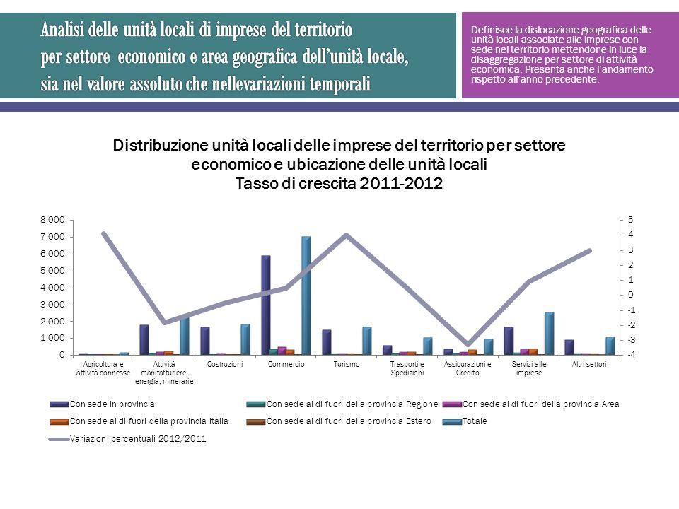 Definisce la dislocazione geografica delle unità locali associate alle imprese con sede nel territorio mettendone in luce la disaggregazione per settore di attività economica.