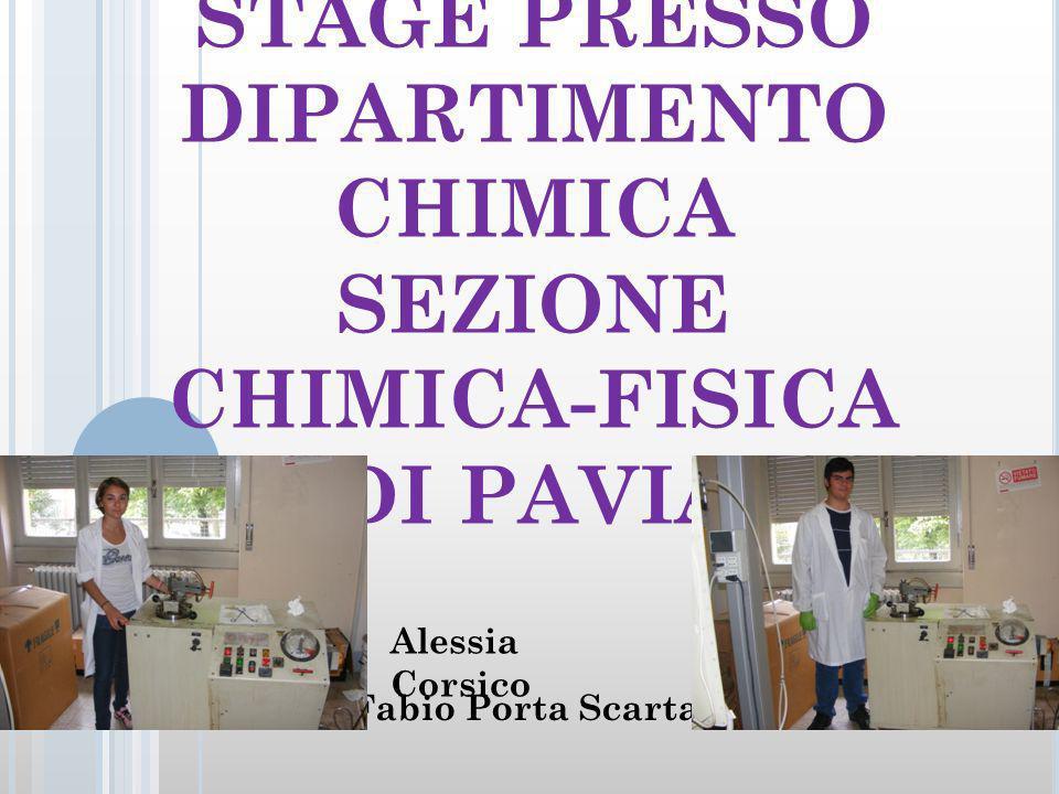 STAGE PRESSO DIPARTIMENTO CHIMICA SEZIONE CHIMICA-FISICA DI PAVIA Fabio Porta Scarta Alessia Corsico