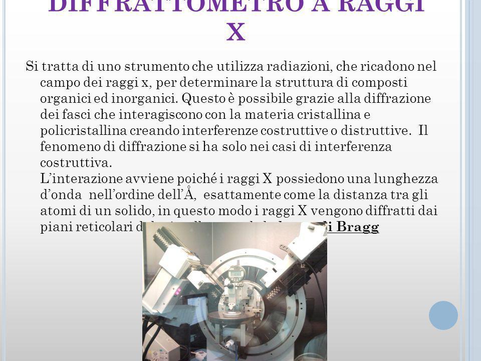 DIFFRATTOMETRO A RAGGI X Si tratta di uno strumento che utilizza radiazioni, che ricadono nel campo dei raggi x, per determinare la struttura di composti organici ed inorganici.