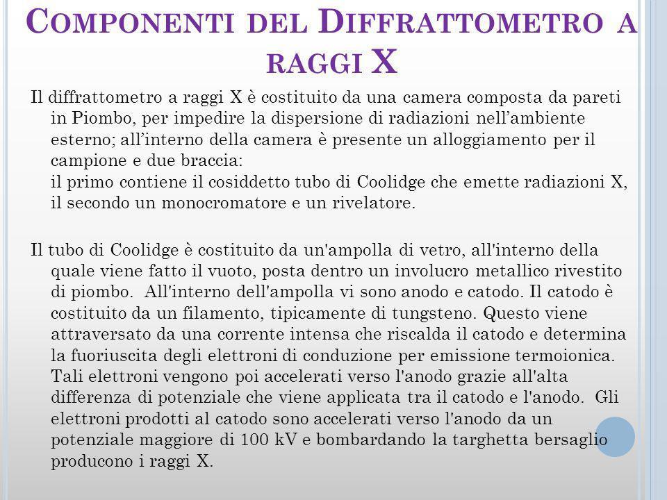 C OMPONENTI DEL D IFFRATTOMETRO A RAGGI X Il diffrattometro a raggi X è costituito da una camera composta da pareti in Piombo, per impedire la dispersione di radiazioni nellambiente esterno; allinterno della camera è presente un alloggiamento per il campione e due braccia: il primo contiene il cosiddetto tubo di Coolidge che emette radiazioni X, il secondo un monocromatore e un rivelatore.