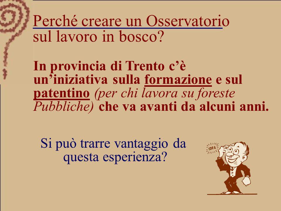 In provincia di Trento cè uniniziativa sulla formazione e sul patentino (per chi lavora su foreste Pubbliche) che va avanti da alcuni anni.