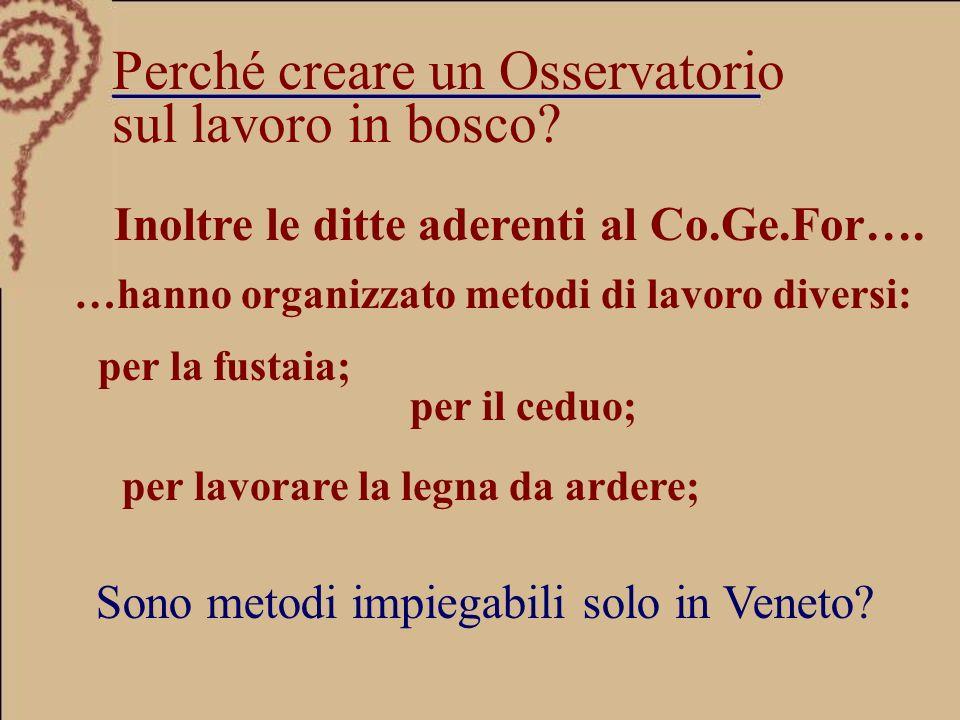 Sono metodi impiegabili solo in Veneto. Inoltre le ditte aderenti al Co.Ge.For….