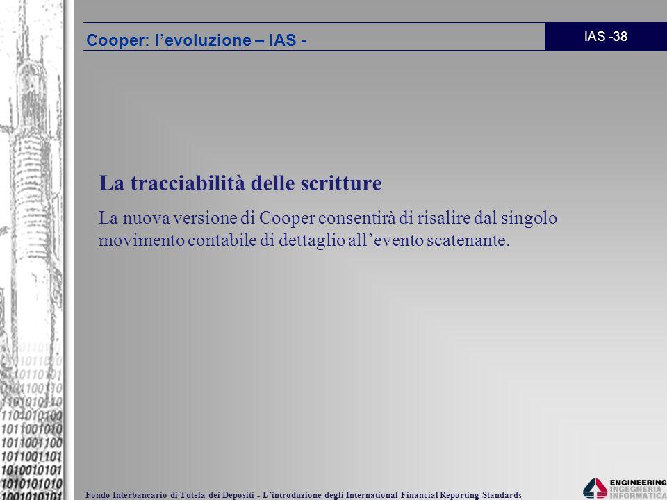 IAS -38 Fondo Interbancario di Tutela dei Depositi - Lintroduzione degli International Financial Reporting Standards La tracciabilità delle scritture