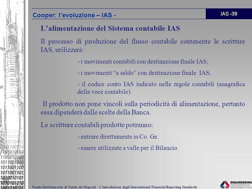 IAS -39 Fondo Interbancario di Tutela dei Depositi - Lintroduzione degli International Financial Reporting Standards Lalimentazione del Sistema contab