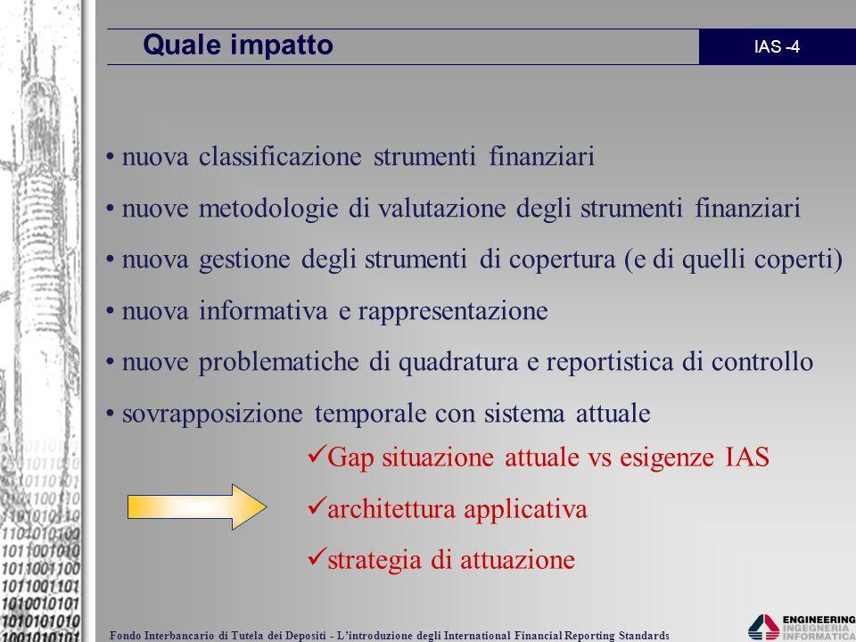 IAS -4 Fondo Interbancario di Tutela dei Depositi - Lintroduzione degli International Financial Reporting Standards Quale impatto nuova classificazion