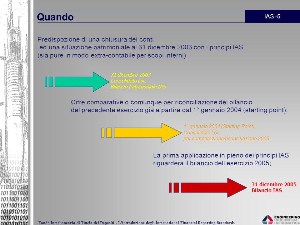 IAS -5 Fondo Interbancario di Tutela dei Depositi - Lintroduzione degli International Financial Reporting Standards Quando Predispozione di una chiusu