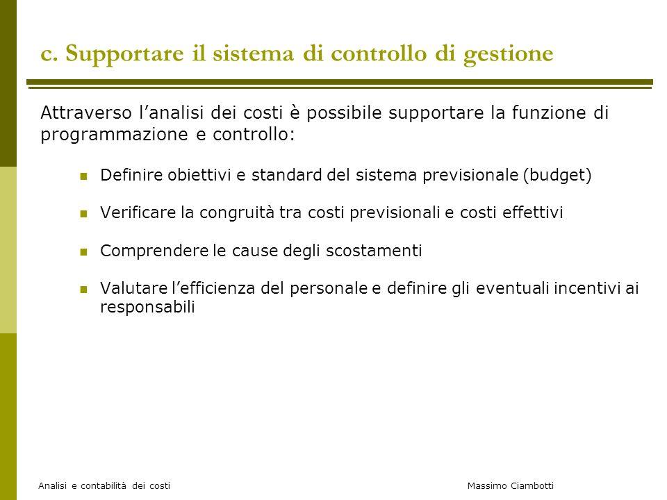 Massimo Ciambotti Analisi e contabilità dei costi c. Supportare il sistema di controllo di gestione Attraverso lanalisi dei costi è possibile supporta